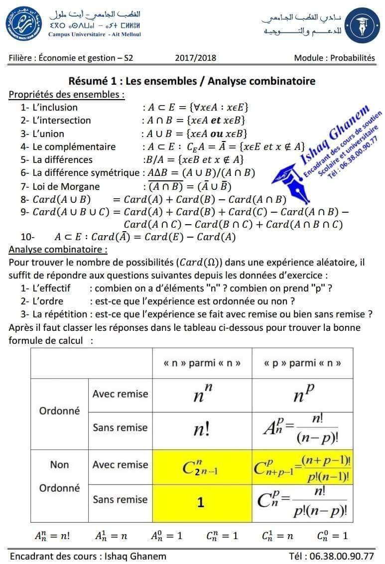 Résumé 1 : Analyse Combinatoire