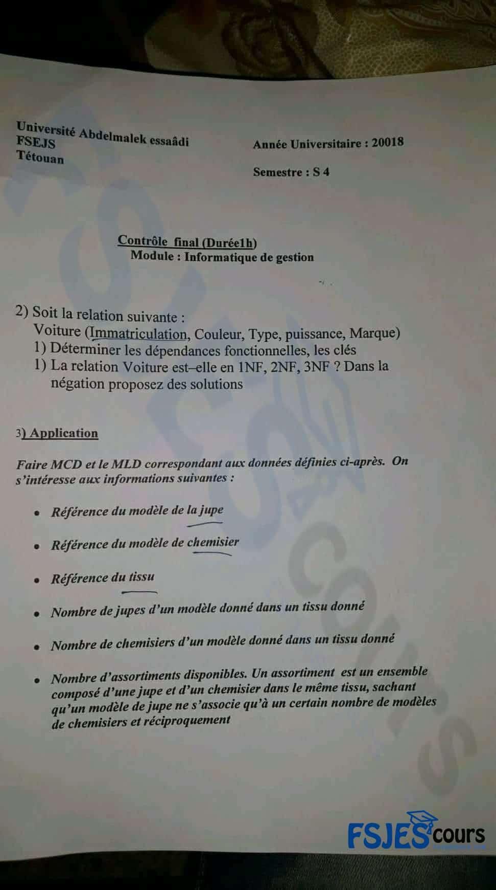 Examen d'infomatique