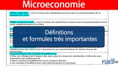 Définitions et formules très importantes en Microéconomie