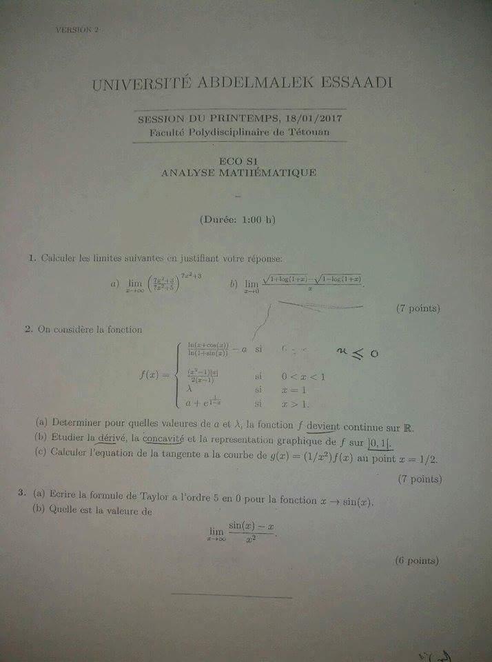 Examens des années antérieures en  Analyse Mathématique (FSJES de Tétouan) 4