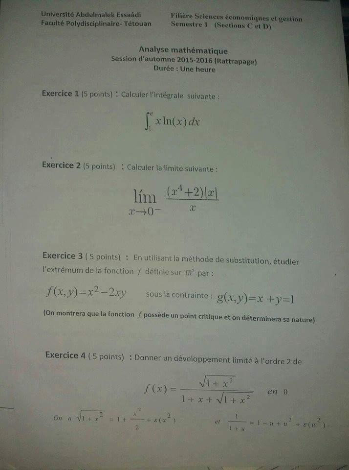 Examens des années antérieures en  Analyse Mathématique (FSJES de Tétouan) 7
