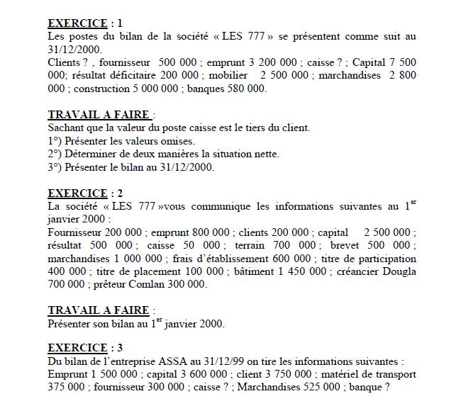 Exercices corrigés en comptabilité générale