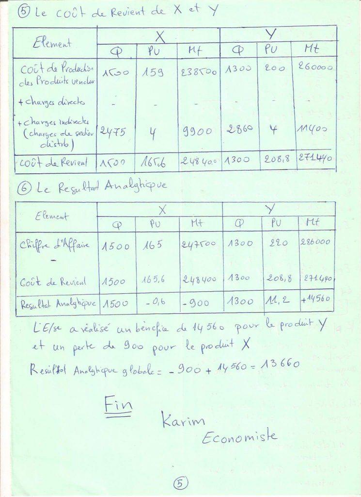 Correction d'exercice de la comptabilité analytique