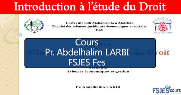 Cours d'Introduction à l'étude du Droit
