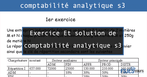 Exercice Et solution de comptabilité analytique s3