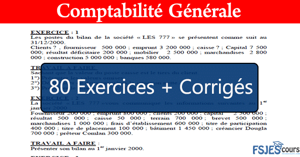 Exercices Corriges De Comptabilite Generale Pdf Fsjes Cours