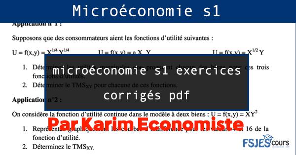 microéconomie s1 exercices corrigés pdf