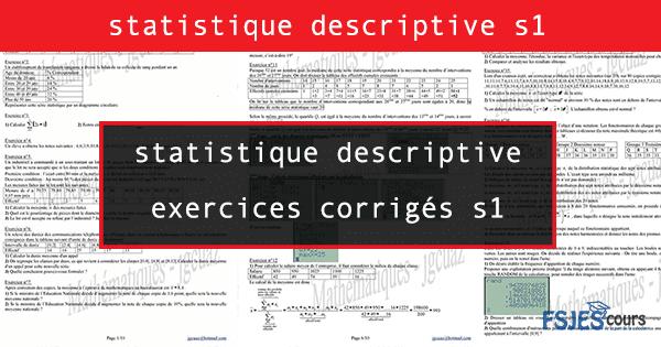Statistique Descriptive Exercices Corriges S1 Fsjes Cours