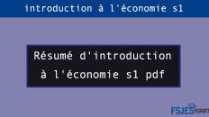 Résumé d'introduction à l'économie s1
