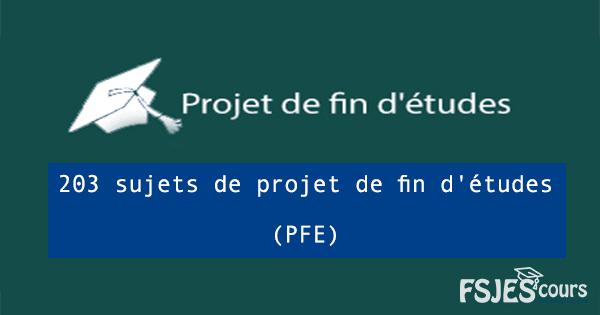 sujets de projet de fin d'études (PFE)