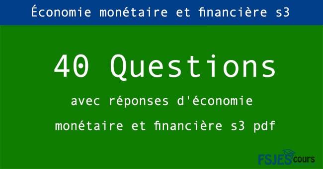Économie monétaire et financière s3