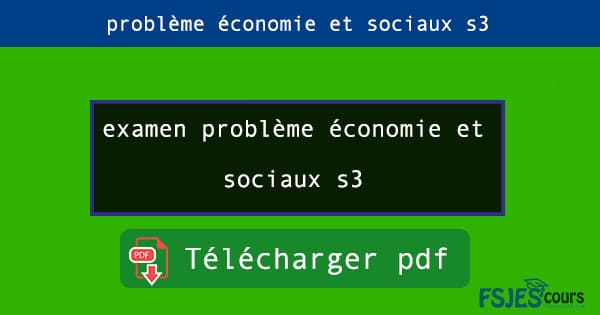 examen problème économie et sociaux s3 pdf