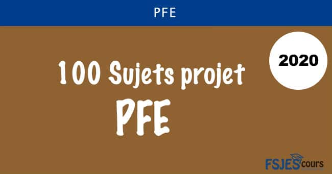 PFE 2020 Sujets projet de fin d'études 2020