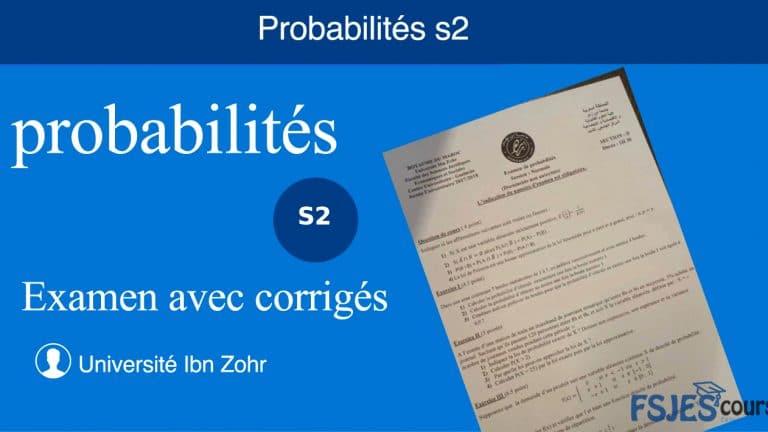 Meilleur Examen avec corrigés probabilités s2 pdf
